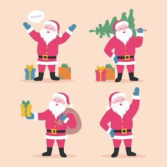 Zestaw postaci z kreskówek świętego mikołaja szczęśliwy święty mikołaj z torbą na prezenty choinkowe