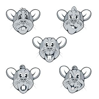 Zestaw postaci z kreskówek szczurów o różnych wyrazach twarzy.