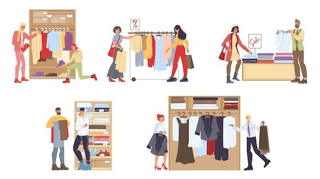 Zestaw postaci z kreskówek w sklepach odzieżowych - różne pozy, emocje i towary, koncepcja sprzedaży zakupów