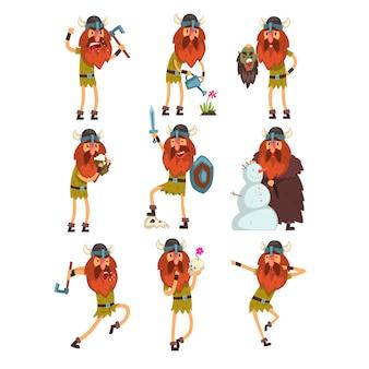 Zestaw postaci z kreskówek wikingów, skandynawski wojownik w tradycyjnych strojach w różnych sytuacjach ilustracja