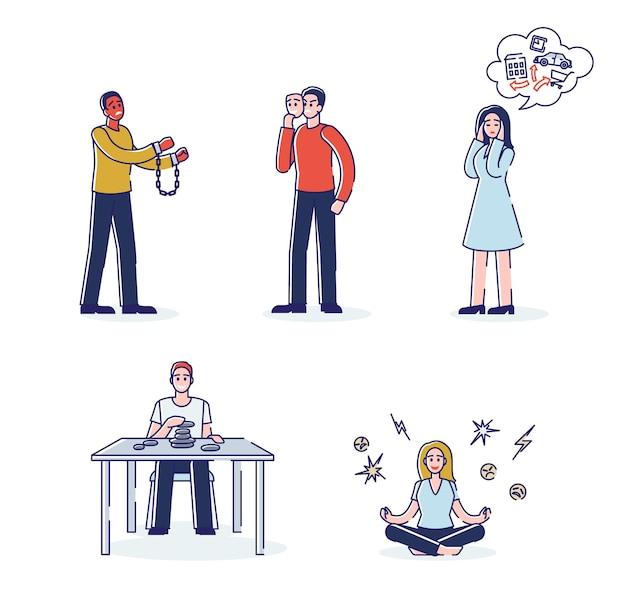 Zestaw postaci z kreskówek z problemami emocjonalnymi, pracujących nad samokontrolą, cierpiących na zaburzenia psychiczne