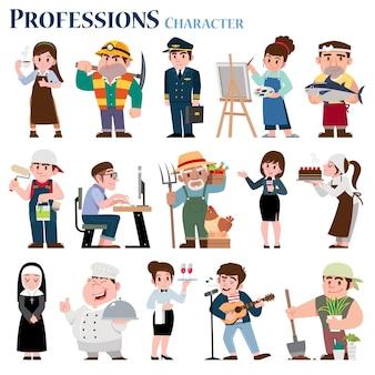 Zestaw postaci z kreskówek zawodów