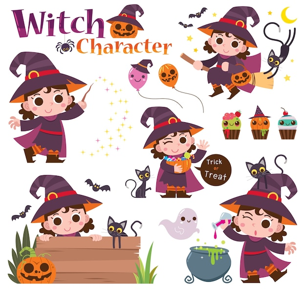 Zestaw postaci z kreskówki czarownica na białym tle