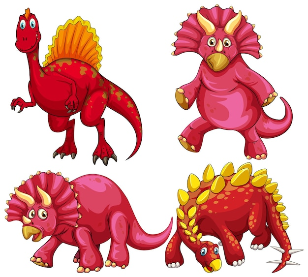 Zestaw postaci z kreskówki czerwony dinozaur