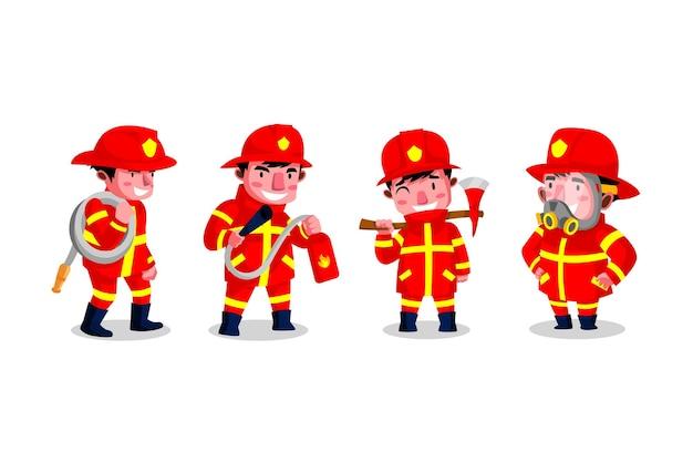 Zestaw postaci z kreskówki strażaka