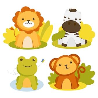 Zestaw postaci zwierząt z lwami, zebrami, żabami i małpami