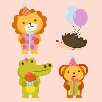 Zestaw postaci zwierząt z lwem, krokodylem, niedźwiedziem i jeżem z balonami