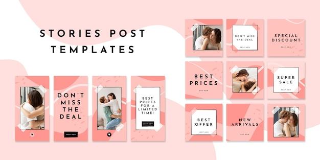 Zestaw postów i historii w mediach społecznościowych