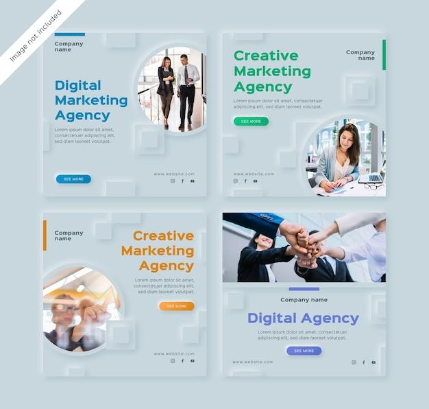 Zestaw postów na instagramie agencji marketingu cyfrowego