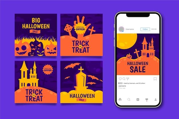 Zestaw postów na instagramie halloween