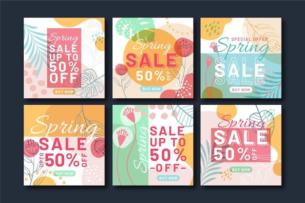 Zestaw postów na instagramie płaskiej wiosennej sprzedaży