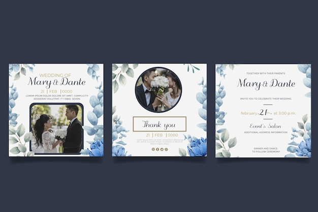 Zestaw postów na instagramie ślubu kwiatowy