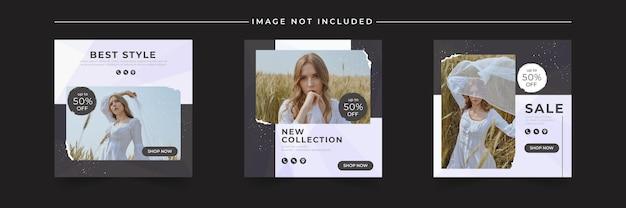 Zestaw postów na instagramie sprzedaży mody