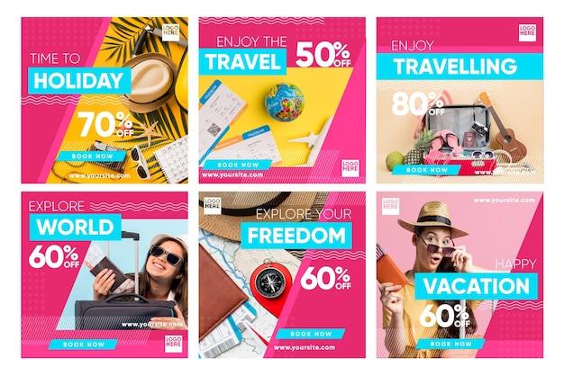 Zestaw postów na instagramie sprzedaży podróży