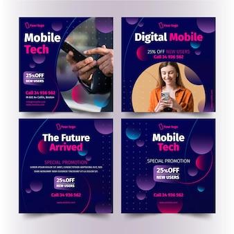 Zestaw postów na instagramie w technologii mobilnej mobile