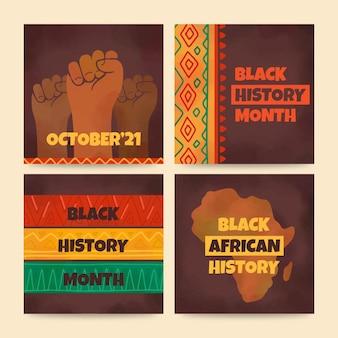 Zestaw postów na instagramie z miesiąca czarnej historii