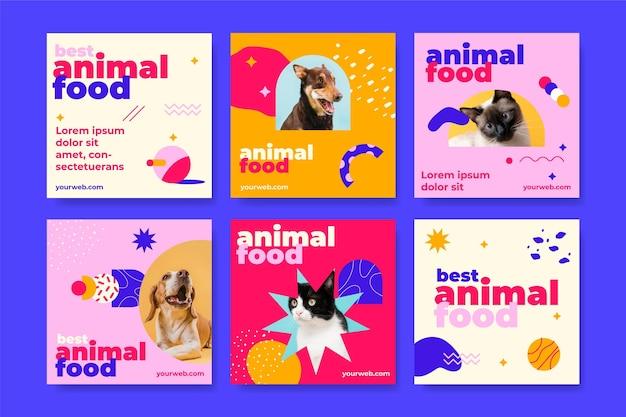 Zestaw postów na instagramie z żywnością dla zwierząt