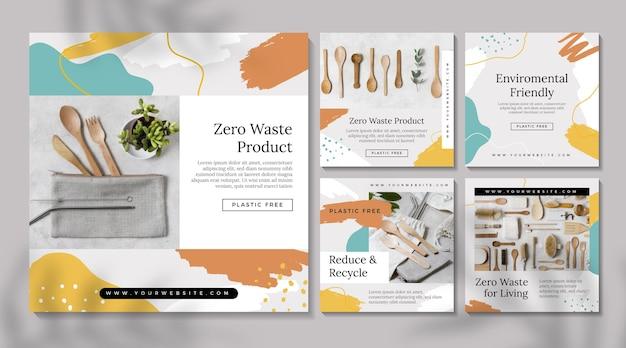 Zestaw postów na instagramie zero waste