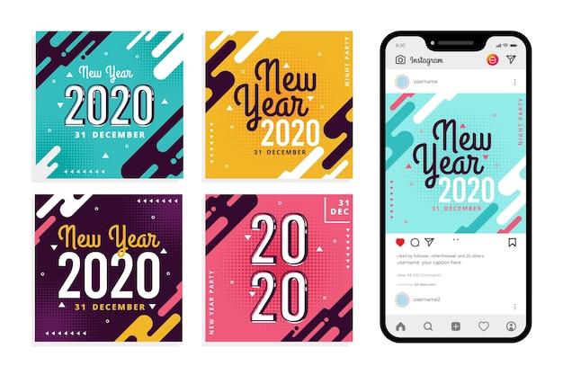 Zestaw postów na nowy rok na instagramie