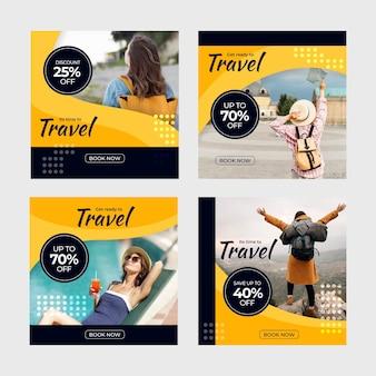 Zestaw postów w mediach społecznościowych dotyczących sprzedaży w podróży