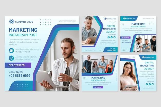 Zestaw postów w mediach społecznościowych z marketingu cyfrowego