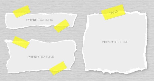 Zestaw poszarpane papiery dołączone tynki, materiał ilustracja projektu