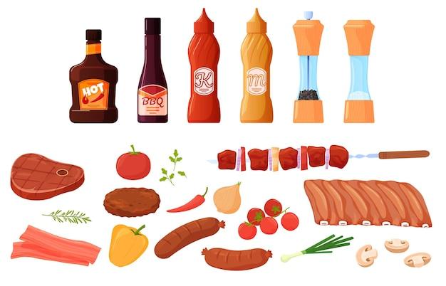 Zestaw potraw do grilla, grilla. mięso i warzywa, steki, żeberka, kiełbaski. sosy, przyprawy, keczup, musztarda. kolorowa ilustracja w stylu cartoon płaski.