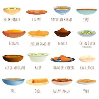Zestaw potraw kuchni indyjskiej i zestaw talerzy, stylu cartoon