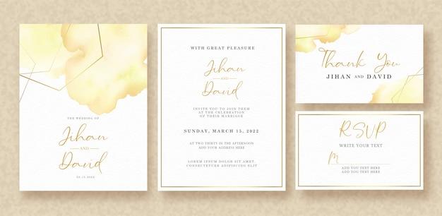 Zestaw powitalny akwarela karta zaproszenie ślubne szablon
