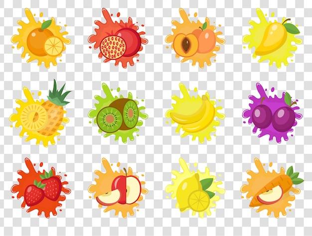 Zestaw powitalny owoców etykiety. rozpryski owoców, krople godło. na przezroczystym tle. zestaw powitalny i zmaza. ilustracja.
