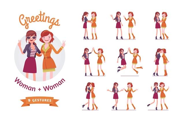 Zestaw powitań kobiece atrakcyjne przyjaciółki