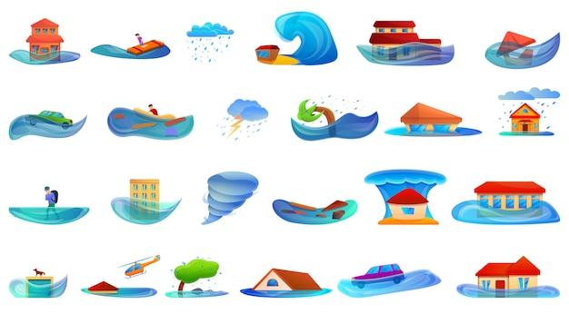 Zestaw powodziowy. kreskówka zestaw powodzi