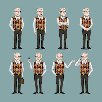 Zestaw póz i emocji. stary człowiek w kraciastej kamizelce