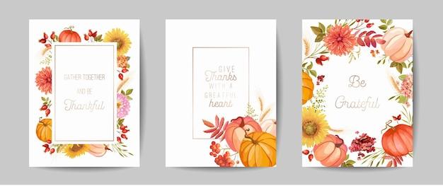Zestaw pozdrowienia dzień dziękczynienia, zaproszenia, ulotki, baner, szablon plakatu. jesienna dynia, kwiat, liście, elementy kwiatowy wzór. ilustracja wektorowa