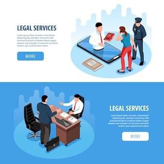 Zestaw poziome banery izometryczny prawnik