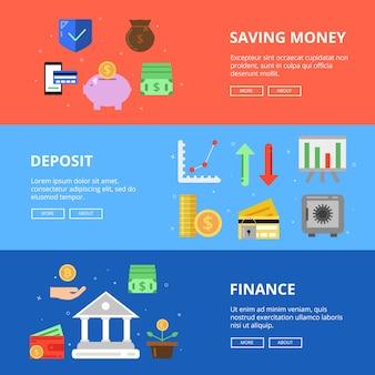 Zestaw poziome banery. oszczędzaj pieniądze. zdjęcia koncepcyjne z różnymi symbolami biznesu i pieniędzy. depozyt finansowy, ilustracja inwestycji finansowych
