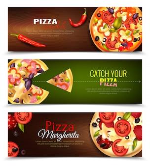 Zestaw poziome banery pizzy
