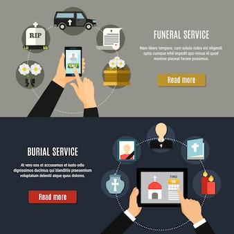 Zestaw poziome banery usługi pogrzebowe