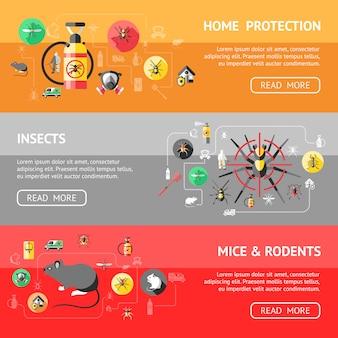 Zestaw poziome banery zwalczania szkodników