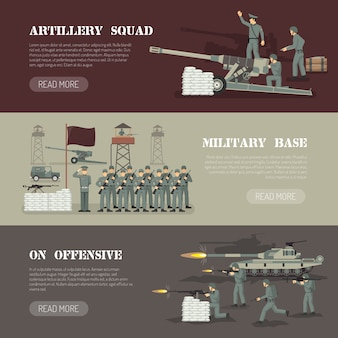 Zestaw poziome bannery armii wojskowej