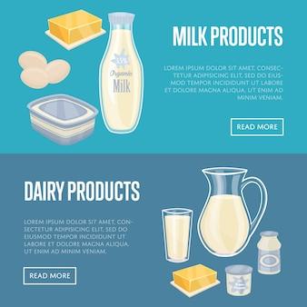 Zestaw poziome bannery mleczne