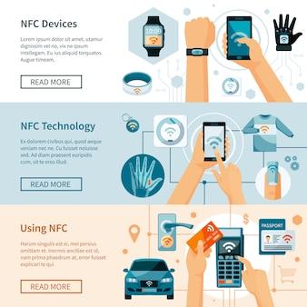 Zestaw poziome transparenty technologii nfc