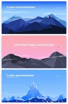 Zestaw poziomy tła z górami. koncepcja alpinizmu z miejscem na tekst. baner w kreskówce, płaski. kolorowa ilustracja.