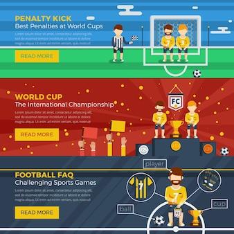 Zestaw poziomy transparent piłki nożnej