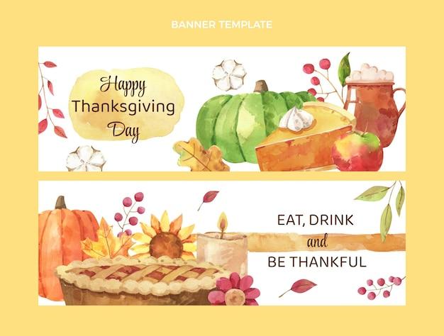 Zestaw poziomych banerów akwarelowych na święto dziękczynienia