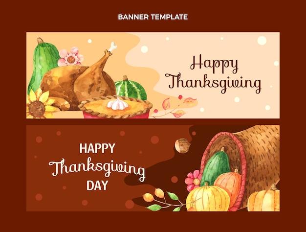 Zestaw Poziomych Banerów Akwarelowych Na święto Dziękczynienia Premium Wektorów