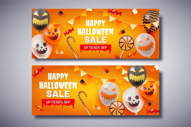 Zestaw poziomych banerów gradientowych na halloween