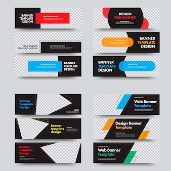 Zestaw poziomych banerów internetowych z miejscem na zdjęcie i różne kształty geometryczne i elementy projektu. szablony o standardowych rozmiarach.
