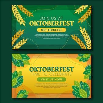 Zestaw poziomych banerów oktoberfest
