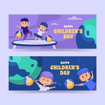 Zestaw poziomych banerów płaski światowy dzień dziecka